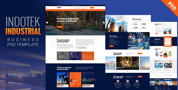 INDOTEK - Industrial, Industry & Manufacturing PSD Template - Business Corporate