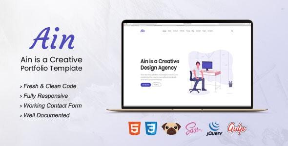 Ain - Portfolio HTML5 Template - Portfolio Creative