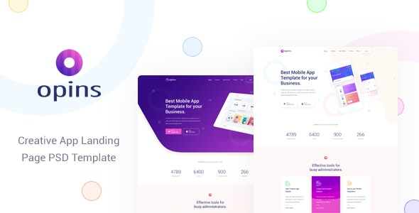 Opins - Creative App Landing Page PSD Template - Technology Photoshop