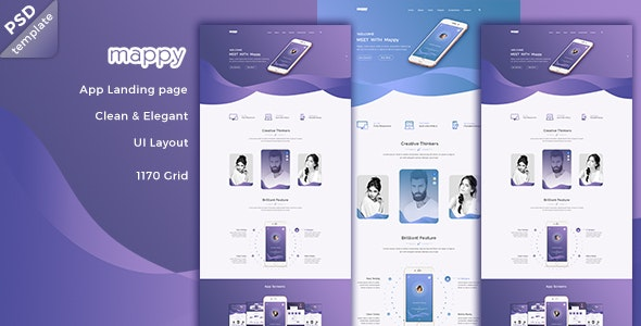 Mappy App Landing PSD Template - Creative Photoshop