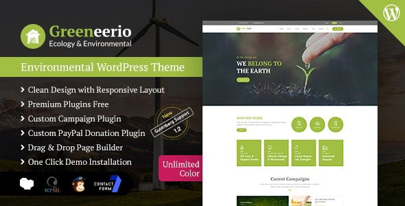 Greeneerio - WordPress Ecology & Environmental Theme by CodePassenger