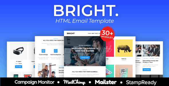 BRIGHT - Multipurpose Responsive Agency Email Template - Newsletters Email Templates