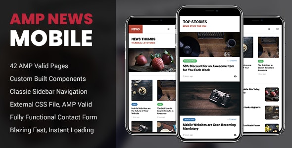 AMP News Mobile - Mobile Site Templates