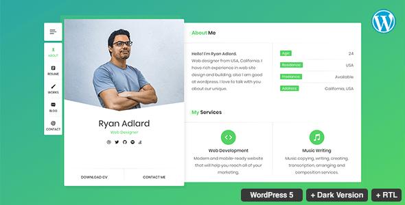 RyanCV Resume CV VCard Theme