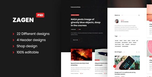 ZAGEN Blog and shop design PSD templates - Photoshop UI Templates