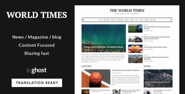 World Times - Newspaper & Magazine Style Ghost Blog Theme - Ghost Themes Blogging