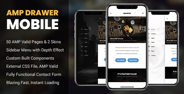 AMP Drawer Mobile - Mobile Site Templates