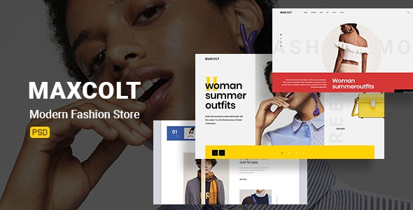 Maxcolt –  Modern Fashion Store  PSD Template - Retail Photoshop