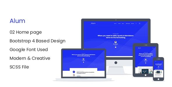 Alum - Responsive HTML Blog Site Template - Creative Site Templates