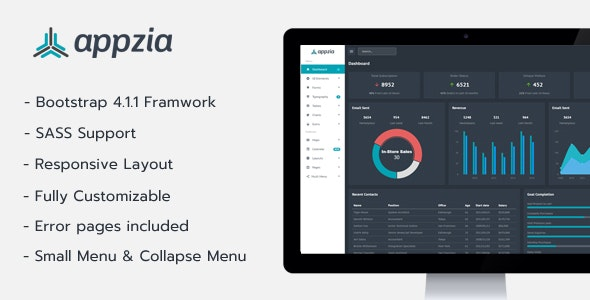 Appzia - Bootstrap 4 Dark Admin Dashboard - Admin Templates Site Templates