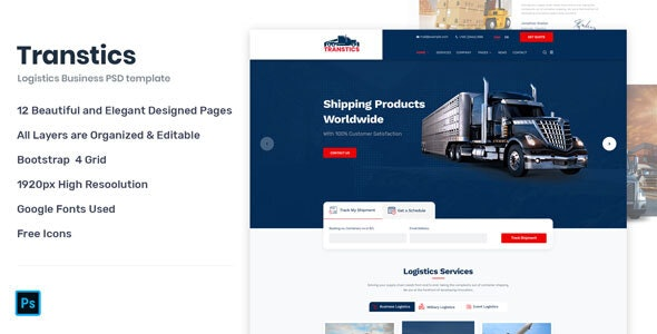 Transtics - Transportation & Logistics Business PSD Template - Business Corporate
