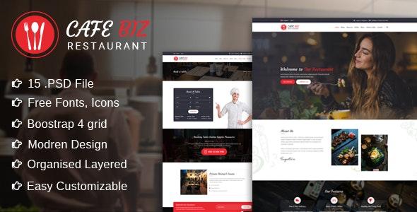 Cafe Biz   Restaurant & Food PSD Template - Restaurants & Cafes Entertainment