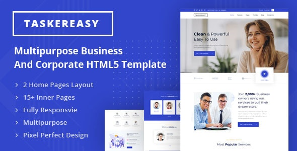 Taskereasy - Multipurpose Business & Corporate HTML5 Template - Corporate Site Templates
