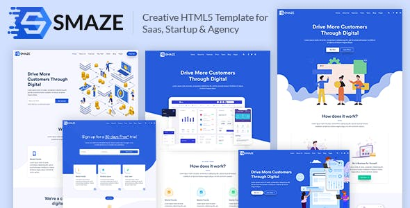 Smaze – Creative HTML5 Template for Saas, Startup & Agency by pxdraft