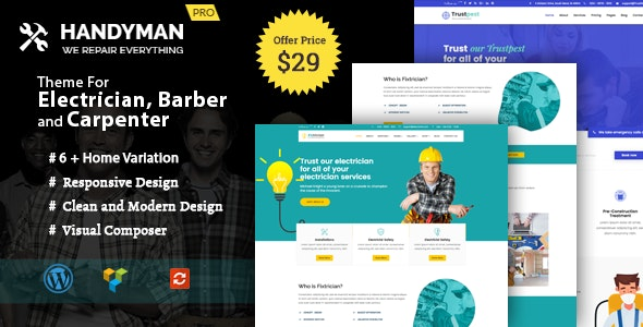 Handyman -  WordPress Theme for Electrician, Barber, Carpenter Services - Corporate WordPress