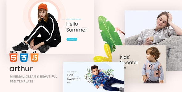 Arthur - Minimal, Clean & Beautiful  PSD Template - Retail Photoshop