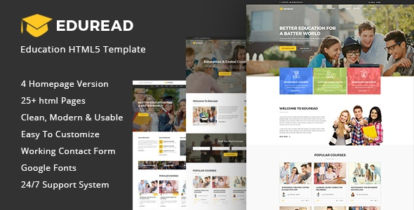 EduRead - Education HTML5 Template - Nonprofit Site Templates