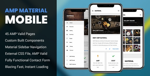 AMP Material Mobile - Mobile Site Templates