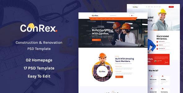 ConRex - Construction, Building PSD Template - Business Corporate