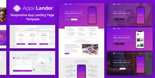 Appx Lander - Responsive App Landing Page Template - Apps Technology