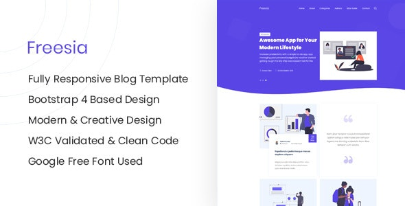 Freesia - Responsive HTML Blog Site Template - Creative Site Templates