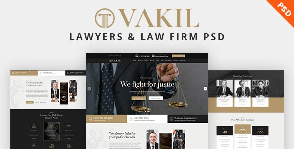 VAKIL - Lawyers Attorneys and Law Firm PSD Template - Corporate Photoshop