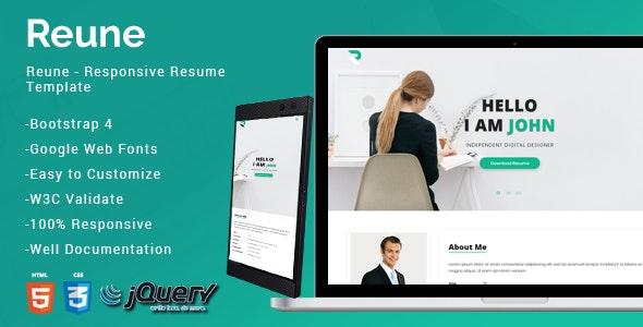 Reune CV / Resume - Portfolio Creative