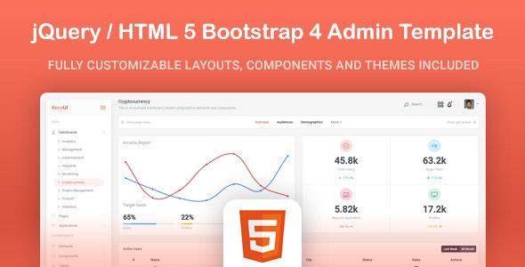 Kero - HTML5 jQuery Bootstrap 4 App Admin Template - Admin Templates Site Templates