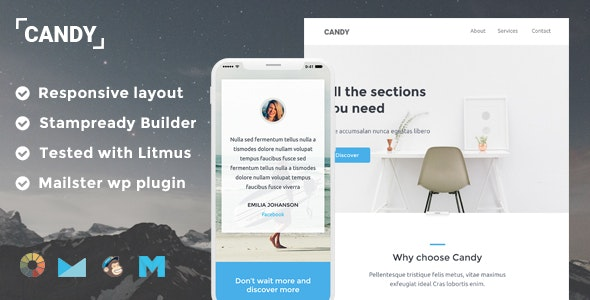 Candy Responsive Email Template + Stampready Builder + Mailchimp + Mailster - Email Templates Marketing