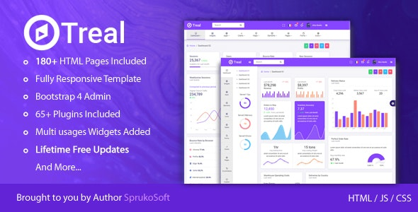 Treal - Admin Responsive Bootstrap HTML Dashboard Template