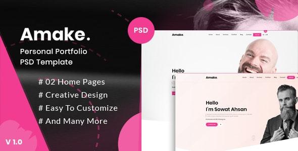Amake - Personal Portfolio PSD Template - Portfolio Creative