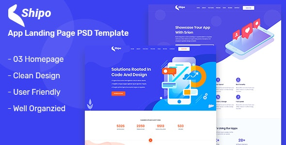 Shipo – App, Software & SAAS Landing Page PSD Template - Software Technology