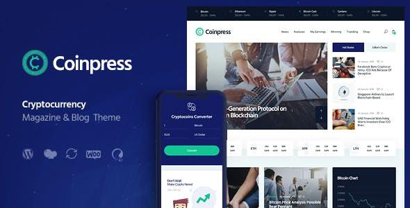 Coinpress | ICO Cryptocurrency Magazine & Blog WordPress Theme