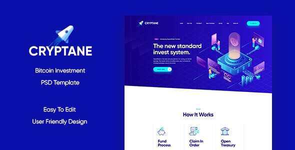 Cryptane - Bitcoin Investment PSD Template - Marketing Corporate