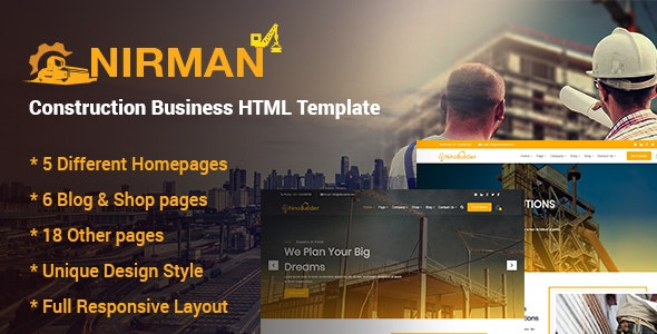 Nirman - Construction Business HTML Template - Business Corporate