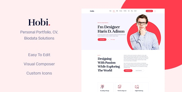 Hobi - Personal Portfolio WordPress Theme - Portfolio Creative