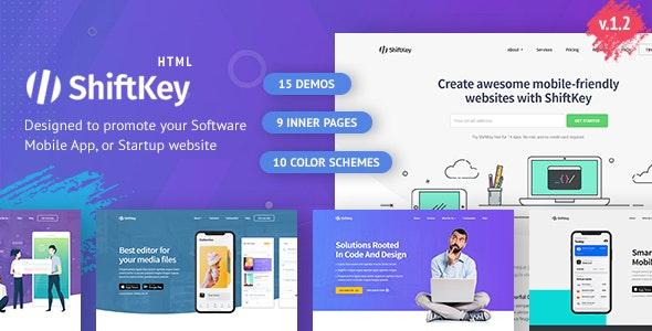 ShiftKey - Software & Startup Premium Landing Page Template - Landing Pages Marketing