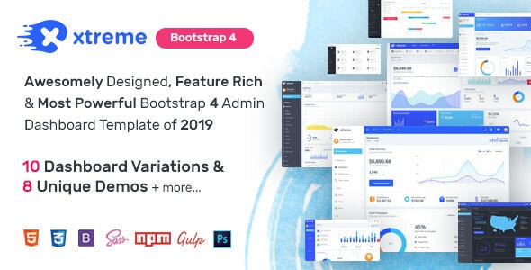 Xtreme Admin - Powerful Bootstrap 4 Dashboard Template - Admin Templates Site Templates