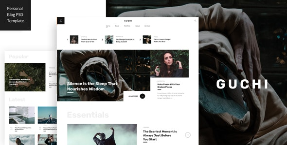 Guchi - Personal Blog PSD Template - Personal Photoshop