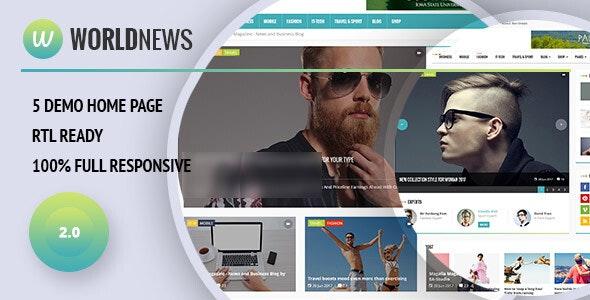 WorldNews - Magazine  RTL Responsive WordPress - Blog / Magazine WordPress
