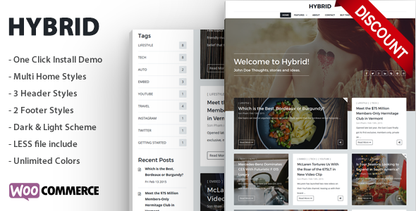 Hybrid - Clean & Modern WordPress Blog Theme - Personal Blog / Magazine