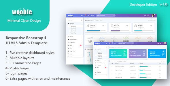 Wooble -  A Minimal eCommerce and Corporate Admin Template - Admin Templates Site Templates