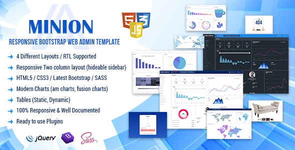 Minion Admin Panel Bootstrap HTML5 Template - Admin Templates Site Templates