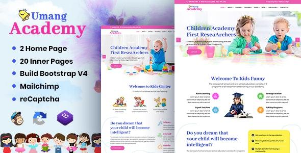 Umang Academy : Kindergarden, Kids Play School Template - Children Retail