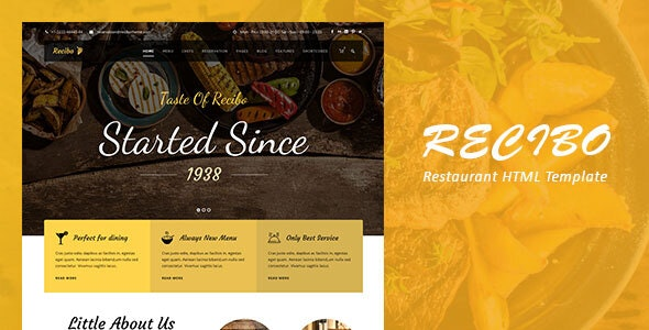 Recibo - Restaurant / Food  HTML Template - Food Retail