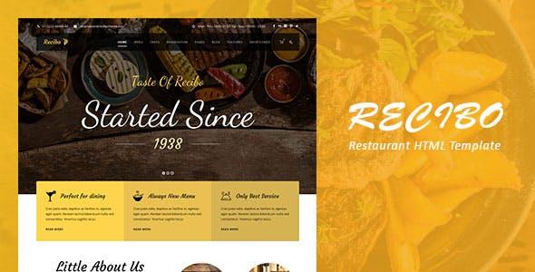 Recibo - Restaurant / Food  HTML Template