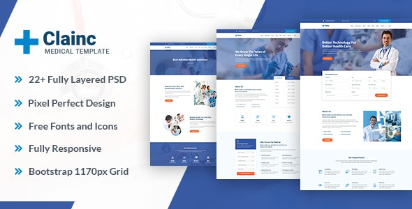 Clainc – Medical   Hospital   Clinic and Pharmacy PSD Templates - Photoshop UI Templates