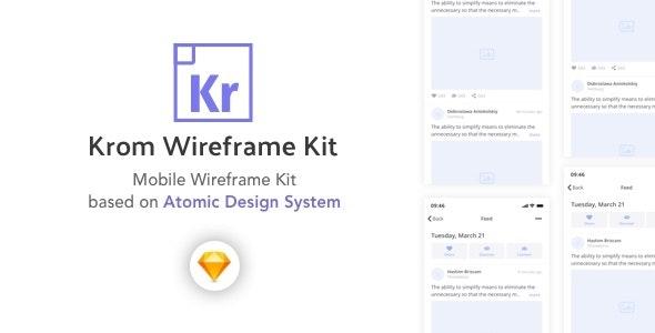 Krom - Wireframe Kit based on Atomic Design System - Corporate Sketch