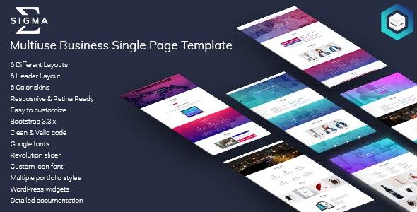 Sigma - Multiuse Business Single Page HTML5 Template - Business Corporate