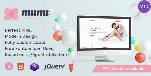 Munu - Beauty HTML5 Template + RTL - Health & Beauty Retail